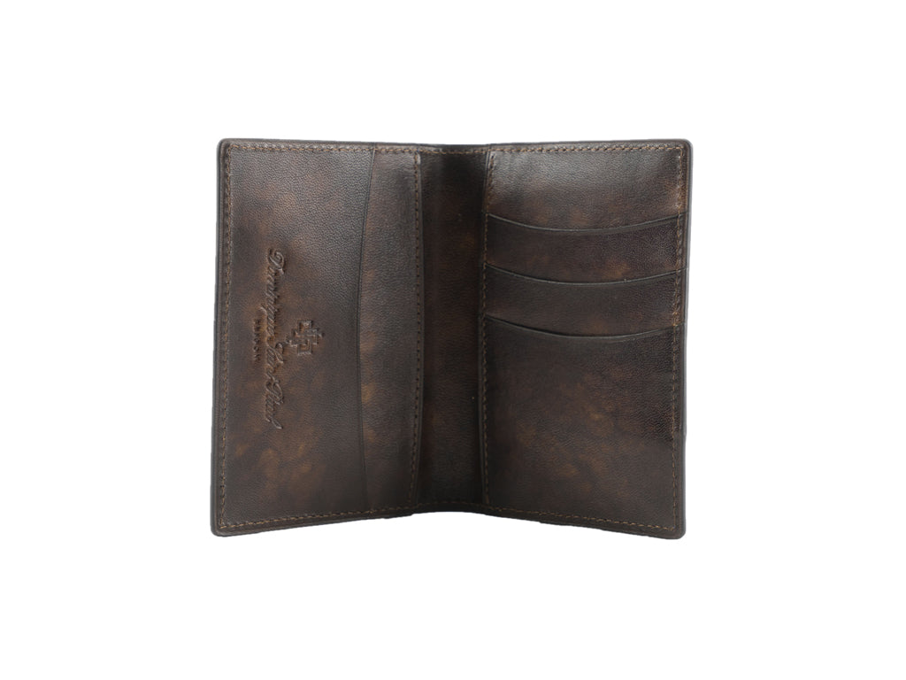 Leather mini wallet hand coloured patina blue and brown