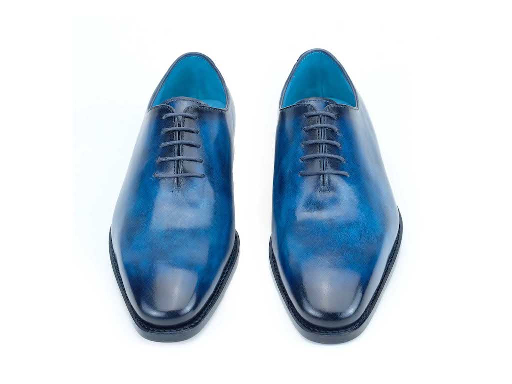 Rhodes whole cut Oxford shoes chisel toe last bluette patina