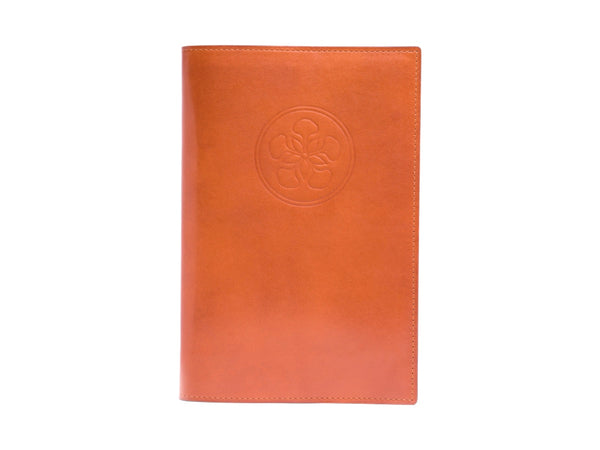 Notebook with patina hand coloured leather cover in London tan