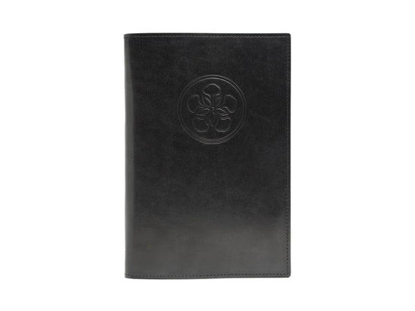 Notebook with hand painted patina leather cover in black