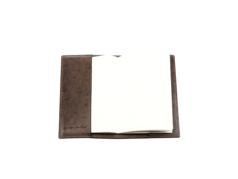 Notebook with hand painted patina leather cover in dark brown