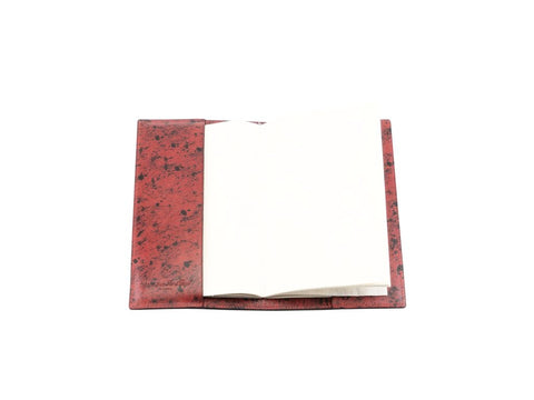 Notebook hand painted patina leather cover brick red