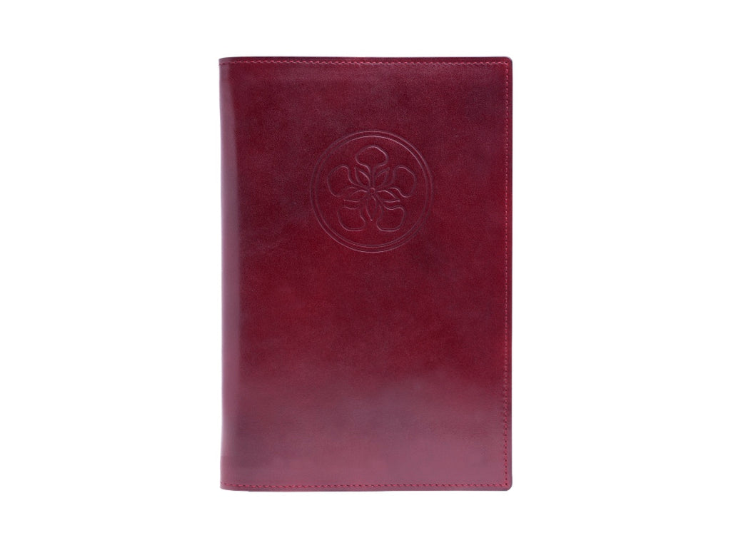 Notebook with patina hand coloured leather cover in burgundy
