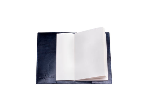 Notebook with patina hand coloured leather cover in midnight blue