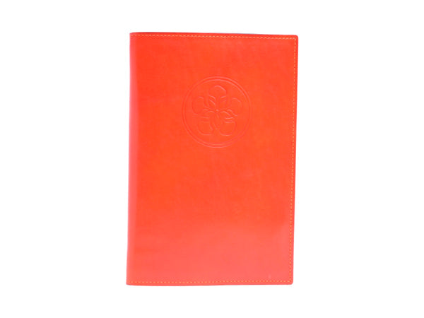 Notebook with hand painted patina leather cover in orange