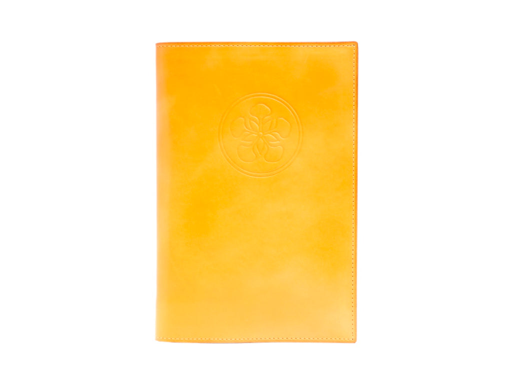 Notebook with hand painted patina leather cover in yellow