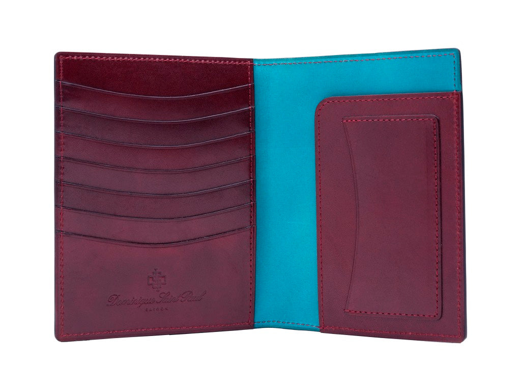 Passport holder travel wallet leather patina in Burgundy