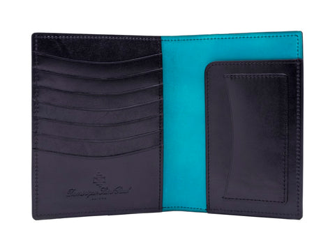 Passport holder travel wallet leather patina in black