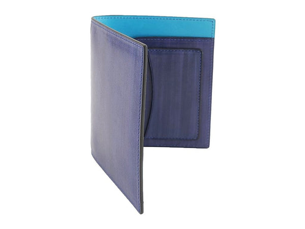 Passport holder travel wallet hand painted washed cobalt