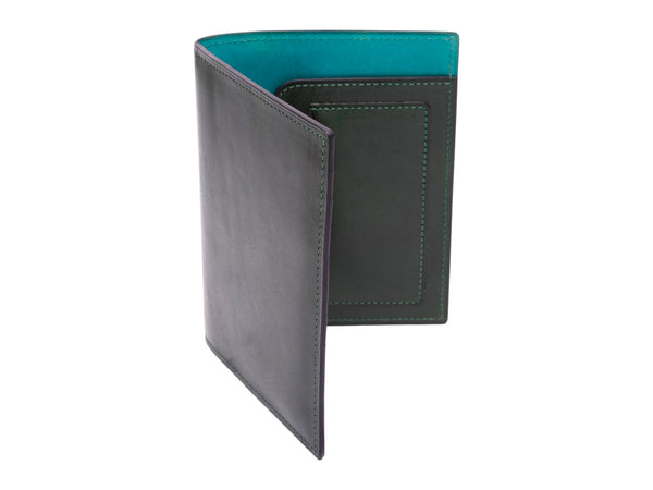 Passport holder travel wallet leather patina in green