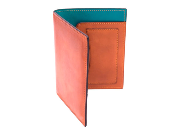 Passport holder travel wallet leather patina London tan