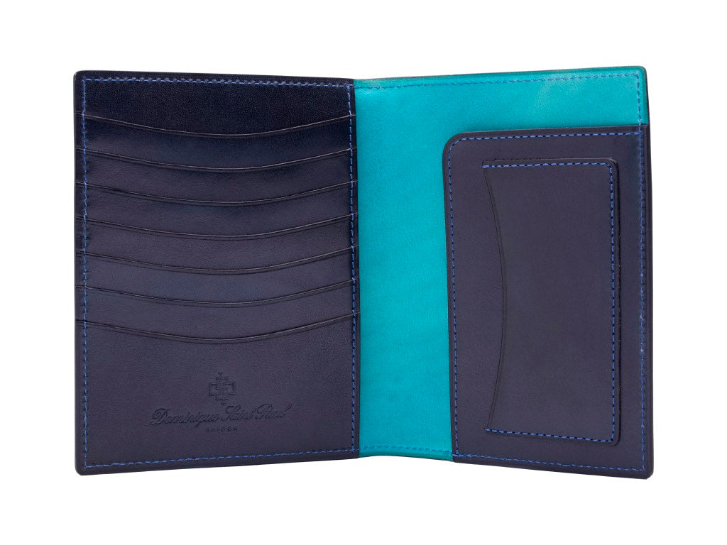 Passport holder travel wallet leather patina in midnight blue