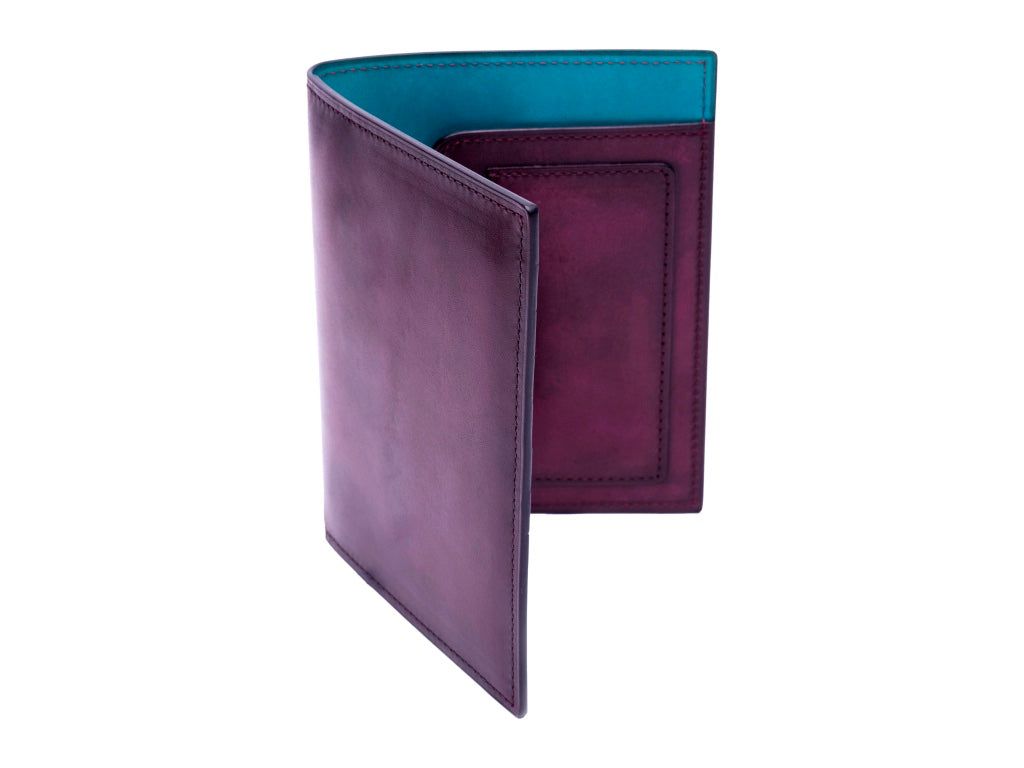 Passport holder travel wallet leather patina in purple