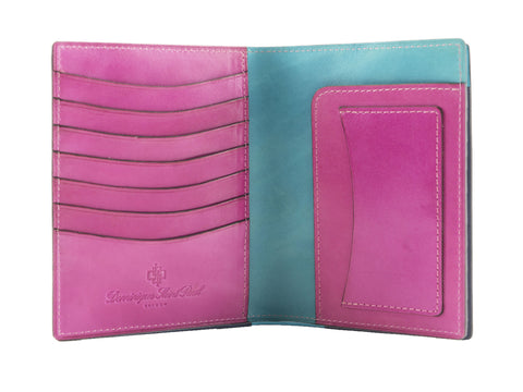 Passport holder travel wallet leather patina pink patina