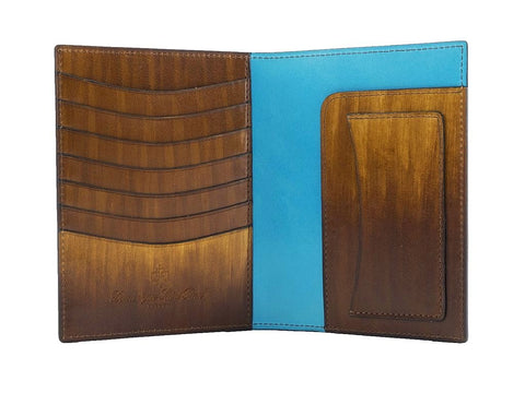 Passport holder travel wallet, hand painted in wood patina