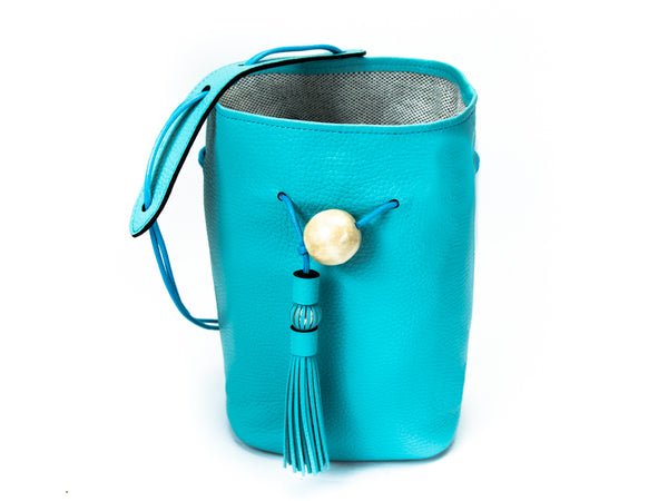 Ballon handbag in turquoise pebble grain leather