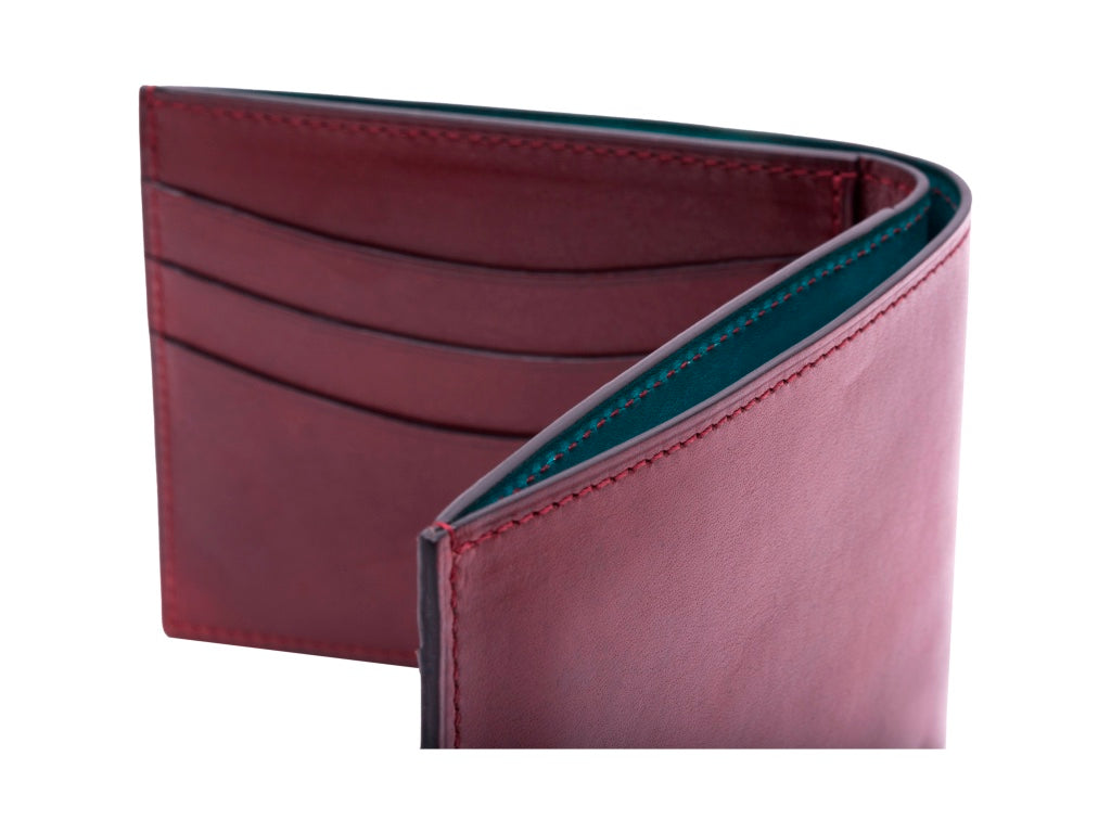 Classic standard leather wallet in hand painted patina Burgundy