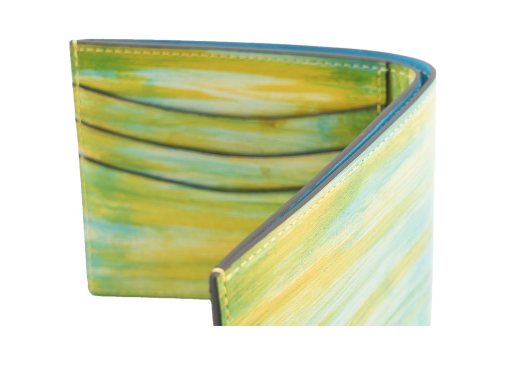 wallet in yellow and lime green washed patina hand painted