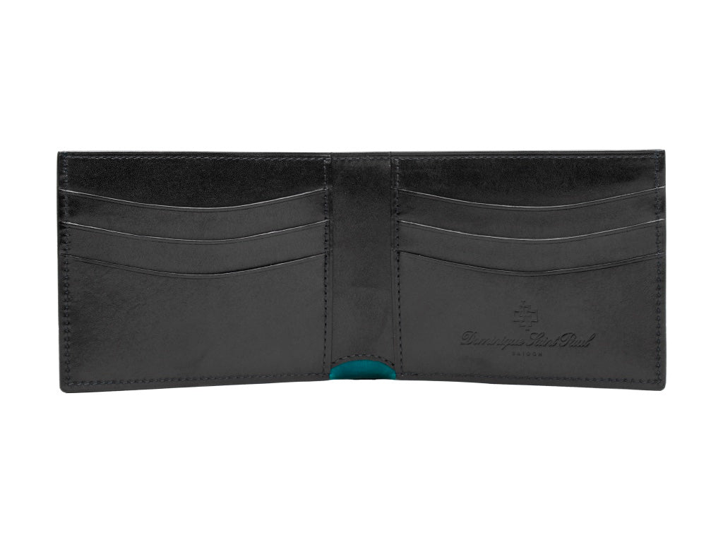 Classic standard leather wallet in hand painted patina black
