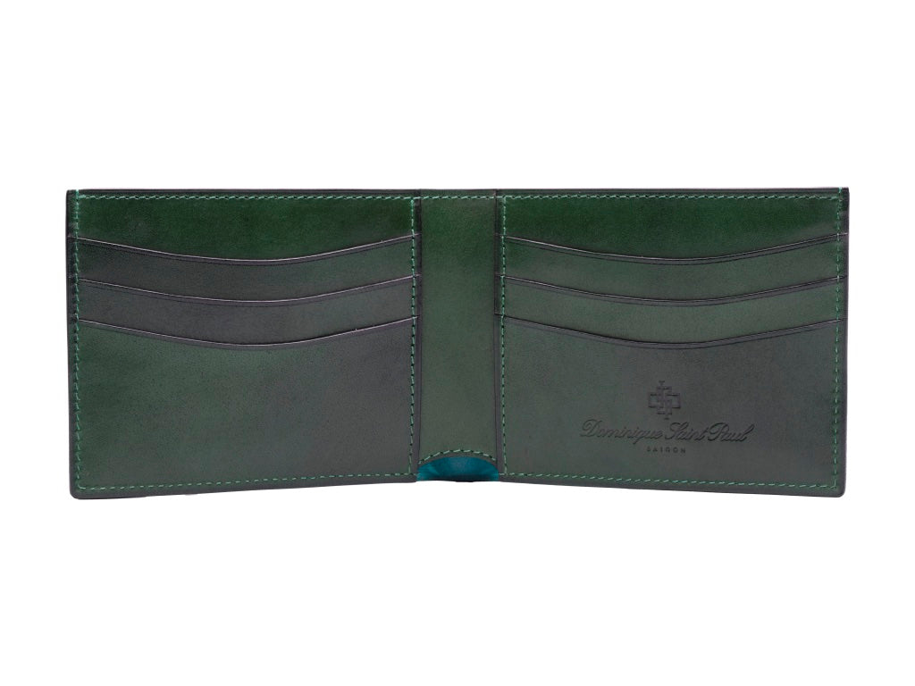 Classic standard leather wallet in hand painted patina green