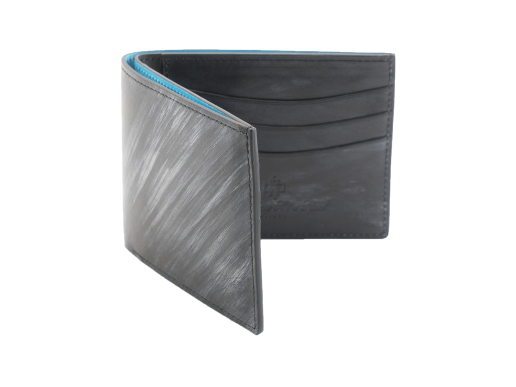 Classic standard wallet in grey and black striped patina hand painted