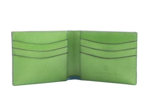 Classic leather wallet in lime green patina hand painted