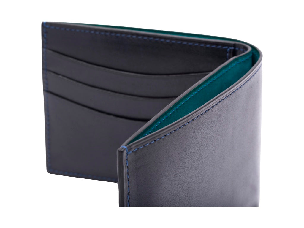 Classic standard wallet in hand painted patina midnight blue