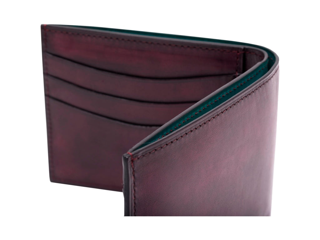 Classic standard leather wallet in hand painted patina purple