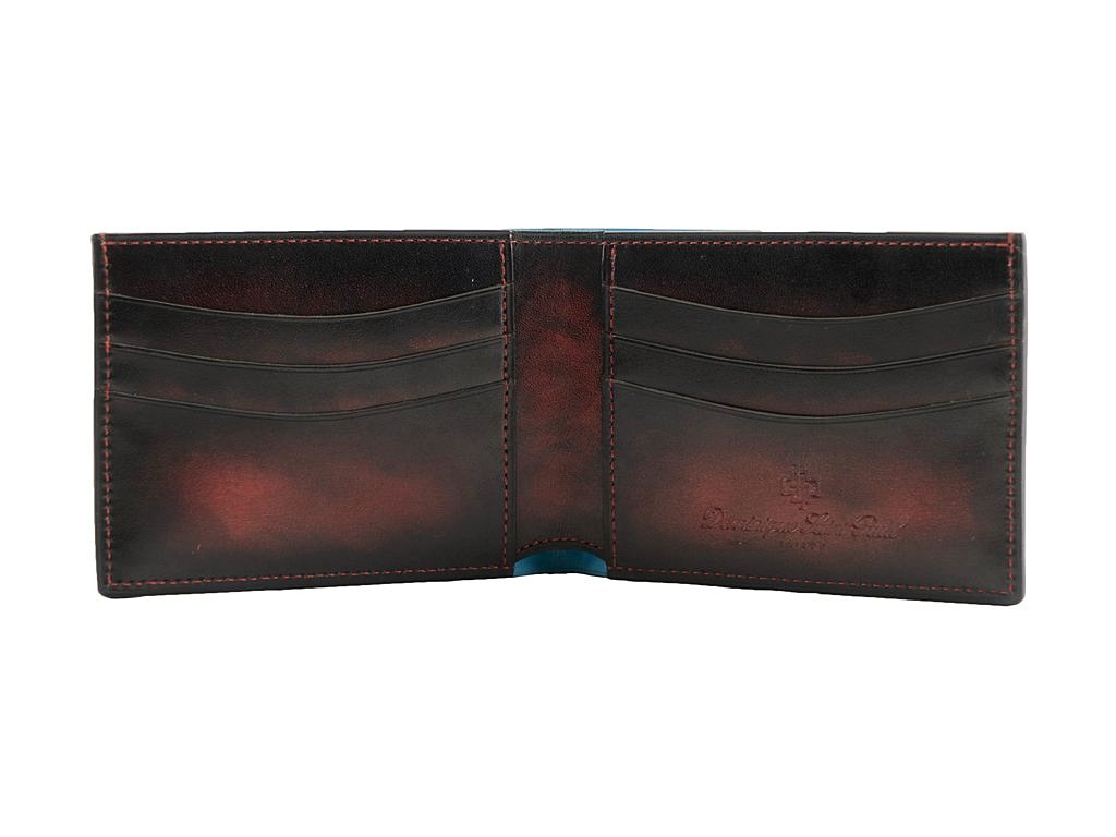 Classic wallet in black and washed red patina hand painted