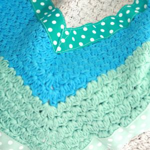 Mint Green And Dusty Grey Hand Crochet Blanket