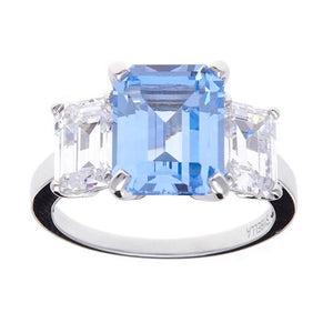 Aqua blue and white cubic zirconia and sterling silver ring