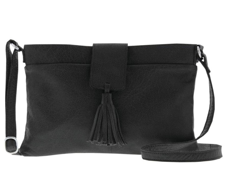 Lorne Soft Leather Crossbody - Black