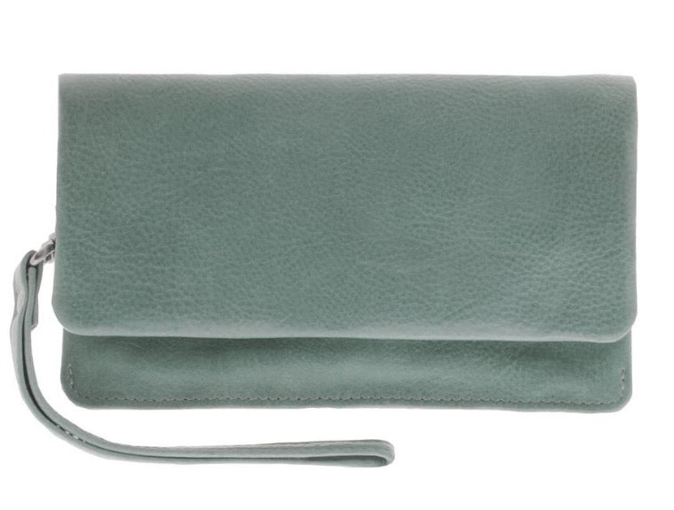 Soft Leather Fold Over Wallet - Sea
