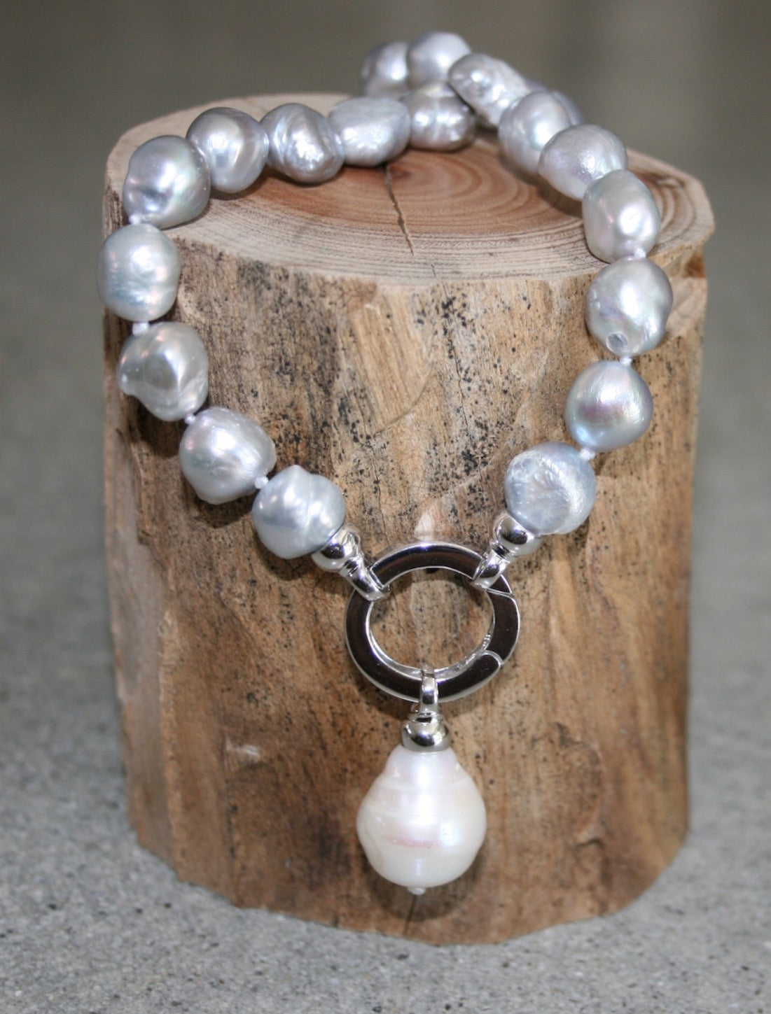 Silver Baroque Pearl Necklace with White Baroque Pearl Charm