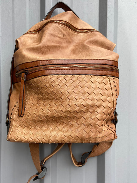 Vegan Leather Woven Backpack-Tan