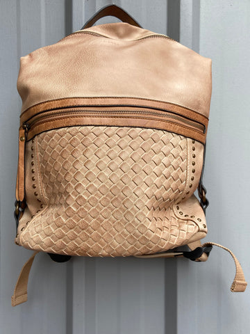 Vegan Leather Woven Backpack-Camel