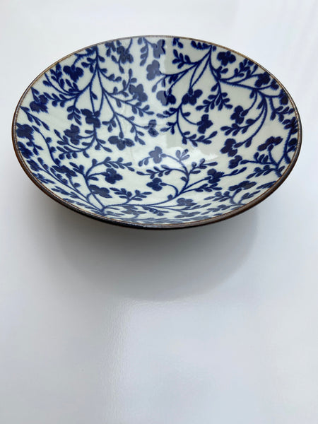 Japanese Floral Blue/Cream Bowl- Large
