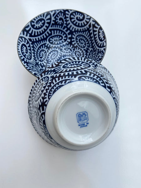Japanese Navy/White Patterned Bowl and Chopstick Set