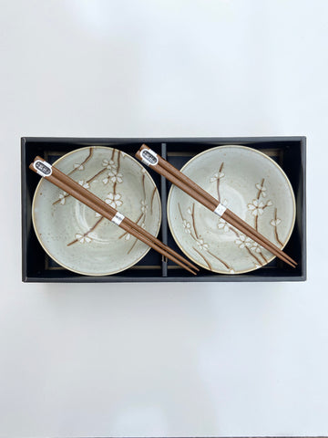 Japanese Light Grey/White Blossom Bowl and Chopstick Set