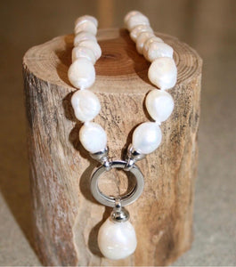 White Baroque Pearl Necklace with Baroque Pearl Charm