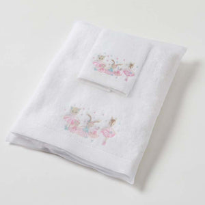 Ballerina baby embroidered bath towel & washer in organza bag