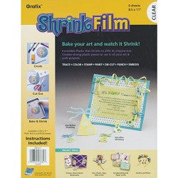 Shrink Art Plastic Single Sheets Only - Collins Craft and School Supplies
