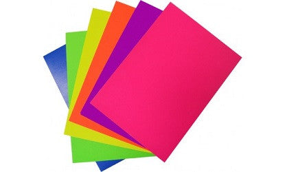 Fluorescent Card 200gsm Assorted Colours - Collins Craft and School Supplies