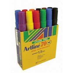 Permanent Markers Artline 70 Bullet Pack of 12 - Collins Craft and School Supplies