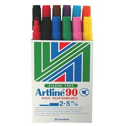 Permanent Markers Artline 90 Chisel Tip Pack of 12 - Collins Craft and School Supplies