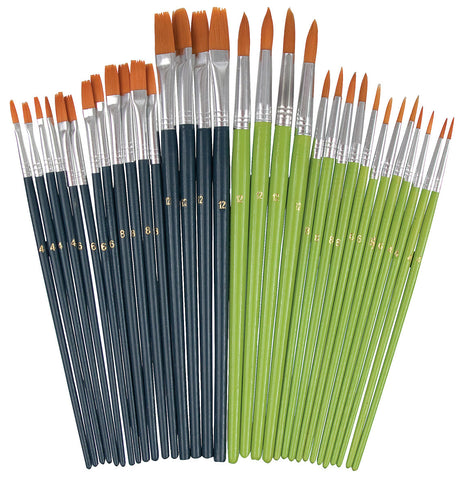 Bulk Taklon Brushes Pack of 32 - BR010 - Collins Craft and School Supplies