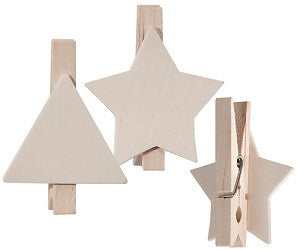 Wooden Peg Shapes Pack of 10 Star & Triangle BW500 - Collins Craft and School Supplies