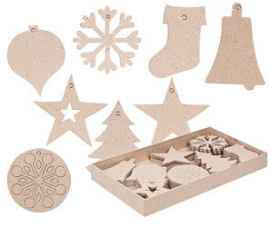 Papier Mache Christmas Decorations Pack of 80 - BW929 - Collins Craft and School Supplies