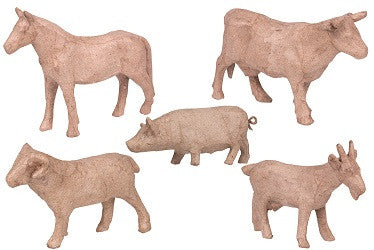 Papier Mache Animals Pack of 5 - BW940 - Collins Craft and School Supplies
