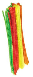 Chenille Stems Fluorescent Pack of 100 - CH060 - Collins Craft and School Supplies